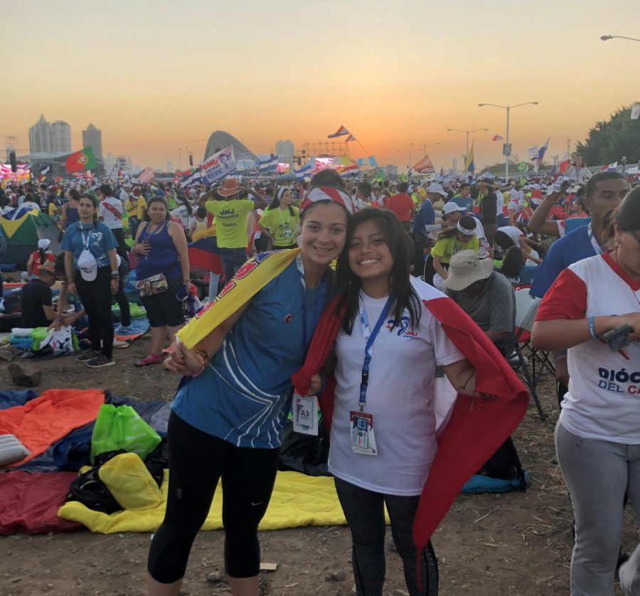 Seniors Carolay Ospina and Georgia Aguirre attended World Youth Day in Panama City January 22-27. While there, they were able to see the Pope.