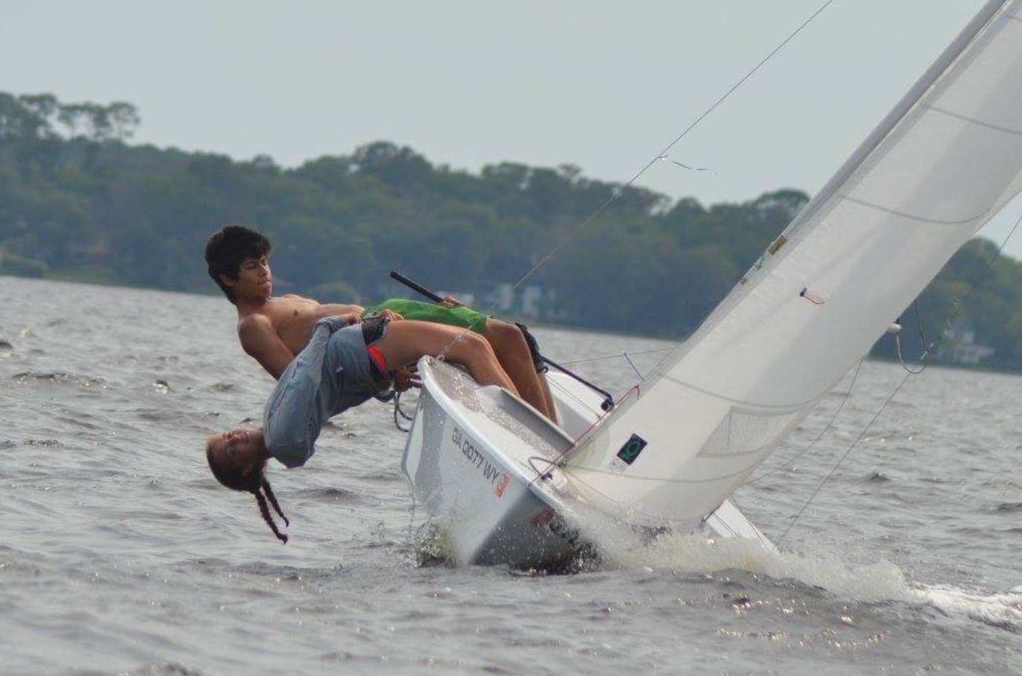 Senior William Kibler and a teammate race in the  Georgia State Championship sailing competition near Statesboro in February.