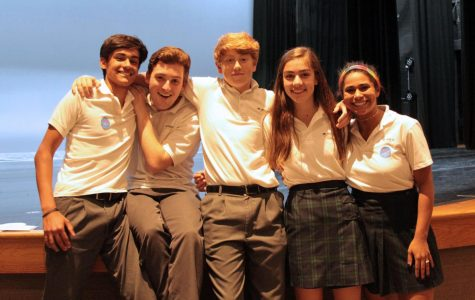 Junior s Mathew Gregg and Carson Craig, sophomore Nathan Brieske, freshman Anna Maloof, and junior Madi Reynolds were among eight students initiated into the Latin Honor Society on April 30.