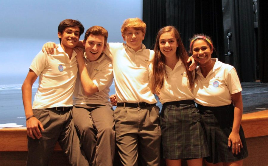 Junior+s+Mathew+Gregg+and+Carson+Craig%2C+sophomore+Nathan+Brieske%2C+freshman+Anna+Maloof%2C+and+junior+Madi+Reynolds+were+among+eight+students+initiated+into+the+Latin+Honor+Society+on+April+30.+