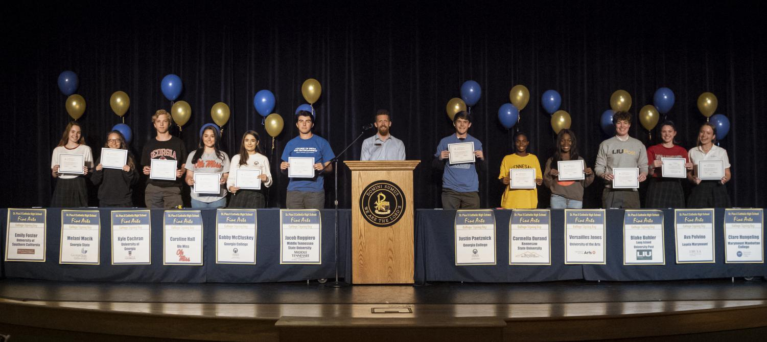 The Fine Arts Program hosted a signing day on May 6 for the 12 seniors who will pursue a fine arts degree in college.