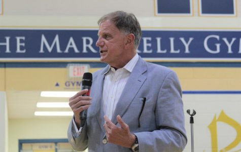 Lawyer J. Tom Morgan addresses the student body on Thursday, September 19. Morgan, who authored the book