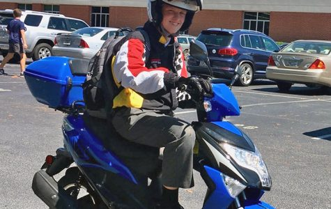 Sophomore arrives to school in style on moped