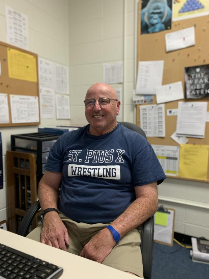 In addition to working in the cafeteria and monitoring students during lunch periods, Coach Lancaster also coaches football, baseball, and wrestling at St. Pius X.