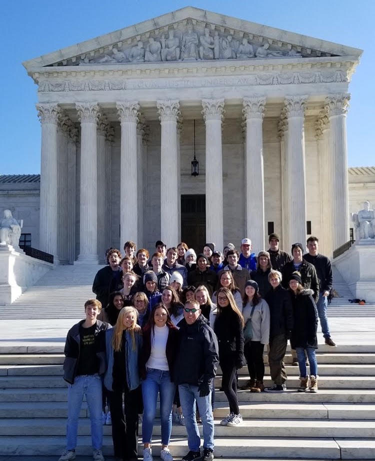 Students in Mr. Ruggiero's Geonice and the Holocaust class stand on the steps of the Supreme Court on their 4-day visit to Washington D.C. in November. The main purpose of the trip was to tour the United States Holocaust Memorial Museum.