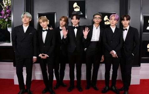 BTS arrives on the red carpet at this year's Grammy Awards.. They perfromed