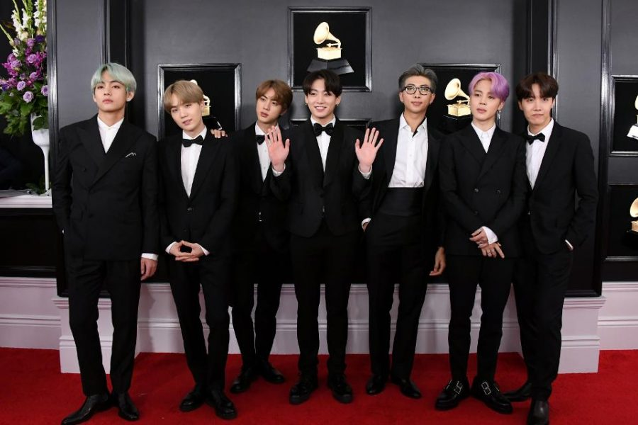 BTS+arrives+on+the+red+carpet+at+this+year%27s+Grammy+Awards..+They+perfromed+%22Old+Town+Road%22+with+Lil+Nas+X+and+Billy+Ray+Cyrus.