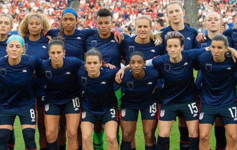 The US Women's National Team wears their warm-up jerseys inside out before a game in March. They were protesting statements made by the U.S. Soccer Federation in response to their equal pay lawsuit.
