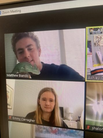 Senior Matthew Biando introduces his pet chameleon Sticky to yearbook class. Biando got Sticky at the beginning of the school year, and she makes frequent appearances on Zoom.