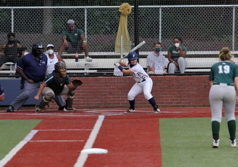 Sophomore Gaby Obregon bats in a game against Collins Hill in August. Softball is one of five fall sports programs that in back action this school year.