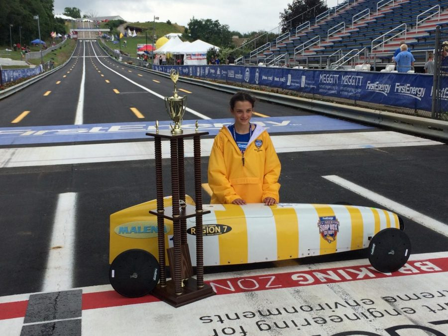 Malena Shipley won the Soap Box Derby National Championship in 2017 in Akron, Ohio.
