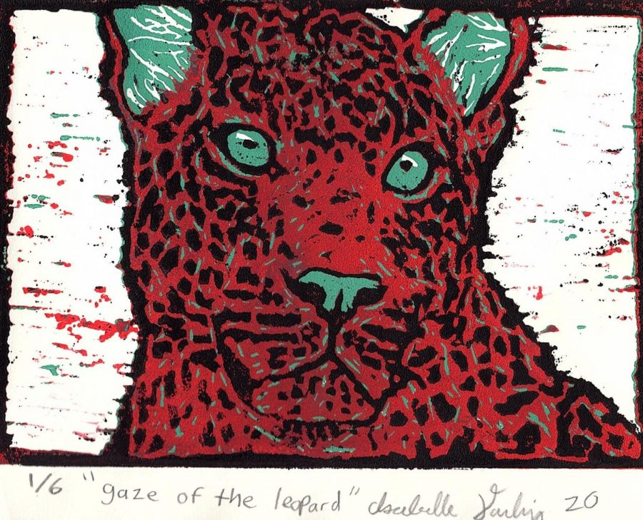 "1st Place Printmaking: ""Gaze of the Leopard"" by Isabelle Darling"