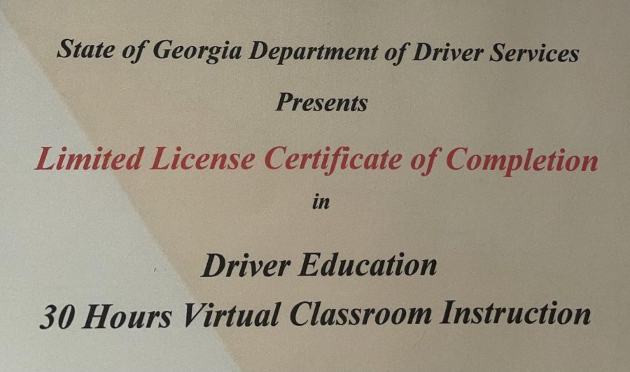 Certificate of verification of online driver's ed