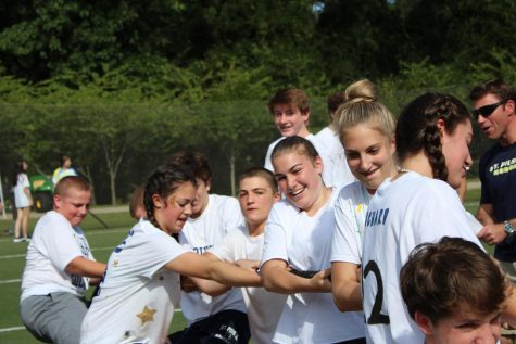 Only sophomores at the time, students from the Class of 2022 compete in a tug-of-war competition during Field Day in August of 2019. This was the last time St. Pius X hosted Field Day, and students are looking forward to its return on Friday, October 15.