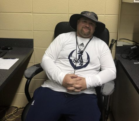 Coach Larry Moyer is a new teacher in the PE Department this year, and hell coach the wide receivers on the varsity football team.